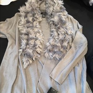 Sweater with faux fur trim NWT
